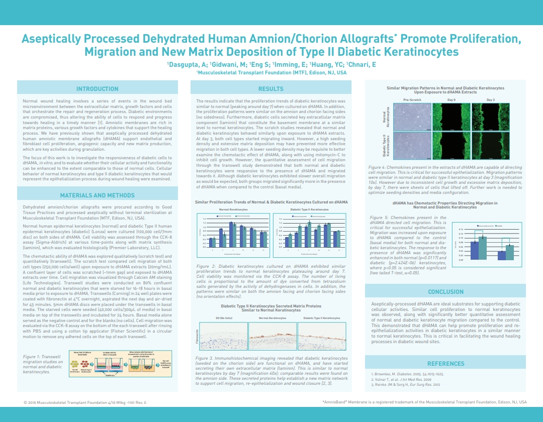 Dasgupta A, Huang YC, Gidwani M, Imming E, Eng S, Chnari E. Aseptically Processed Dehydrated Human Amnion/Chorion Allografts Promote Proliferation, Migration and New Matrix Deposition of Type II Diabetic Keratinocytes. SAWC 2016 Spring. Atlanta, GA, USA