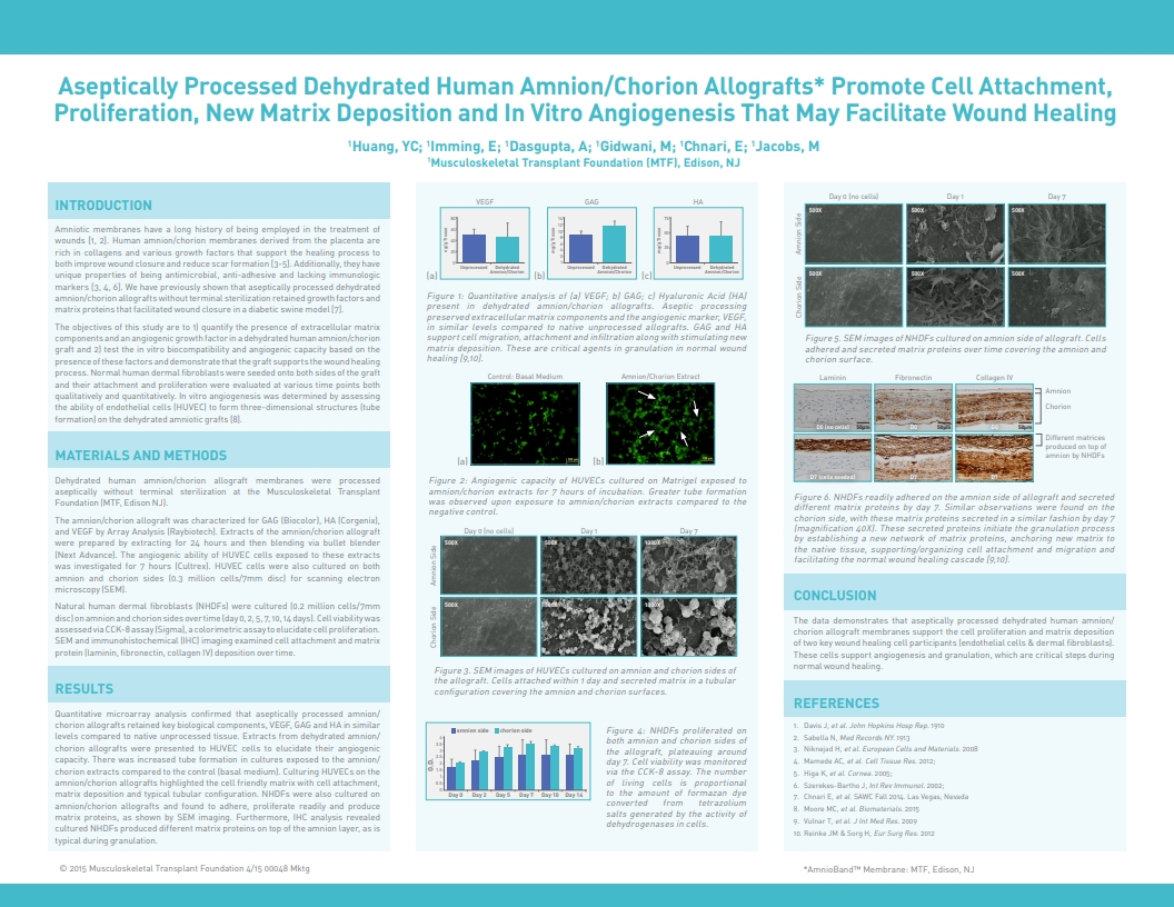 Huang YC, Imming E, Dasgupta A, Gidwani M, Chnari E, Jacobs M. Aseptically Processed Dehydrated Human Amnion/Chorion Allografts Promote Cell Attachment, Proliferation, New Matrix Deposition and In Vitro Angiogenesis That Supports Wound Healing. SAWC 2015 Spring. San Antonio, TX, USA