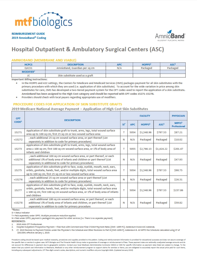 2019 AmnioBand Outpatient ASC packet