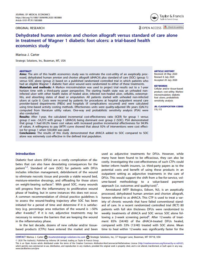 AMNIOBAND MEMBRANE: Carter, Journal of Medical Economics 2020